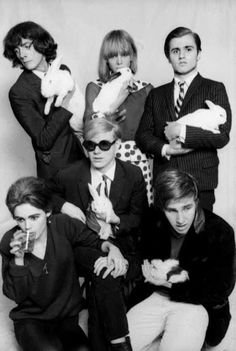 Photo by Jean Jacques Bugat, 1965 of Andy Warhol, Catherine Deneuve, Edie Sedgwick and White Rabbits in a fun-derland.