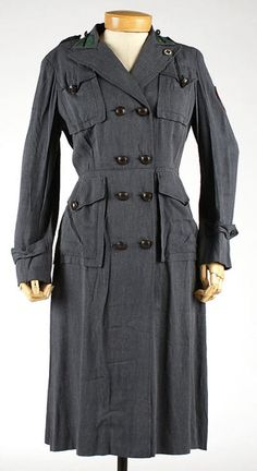 Woman's uniform, early 1940s USA via the Met Museum.  It was worn by a member of the American Red Cross Motor Service.