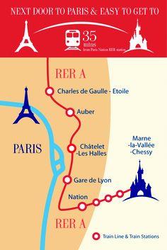 Easily within reach of central Paris How To Get, How To Plan, Disneyland Paris, Train Station, Birthday, Birthdays, Dirt Bike Birthday, Birth Day