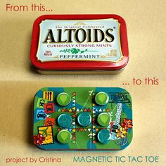 for the kids DIY Magnetic Tic-Tac-Toe! Perfect for keeping the little ones entertained on those long road trips! Crafts To Make, Fun Crafts, Crafts For Kids, Projects For Kids, Craft Projects, Craft Ideas, Tic Tac Toe Game, Tic Toe, Mint Tins