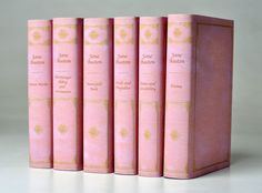 Jane Austen Pink Leather Set-A beautiful edition of Jane Austen's complete works in book jackets that look like luxurious pink leather bindings. The set includes Emma, Sense and Sensibility, Pride and Prejudice, Mansfield Park, Northanger Abbey and Persuasion, Austen's Minor Works. This set is brand new from Oxford University Press in custom book jackets. Want this!