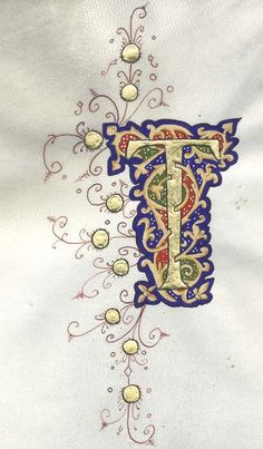 Illuminated letter T Calligraphy Letters, Typography Letters, Hand Lettering, Lettering Styles, Lettering Tutorial, Islamic Calligraphy, Alphabet Art, Letter Art, Graffiti Alphabet
