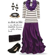 Purple ruffle skirt?! No ear-rings for me, but I would totally wear this. // Modest outfit inspiration