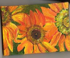 3 sunflowers on Green Original Painting mini by SharonFosterArt, $20.00