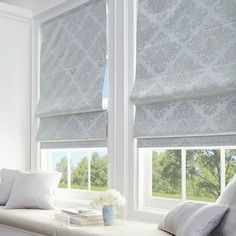 Shop Damask Room Darkening Roman Shade - Overstock - 22633592 - w x l - Silver Bay Window Treatments, Window Treatments Living Room, Bedroom Window Coverings, Picture Window Treatments, Bedroom Windows, Living Room Windows, Bay Window Curtains, Bedroom Roman Blinds, Blinds For Bay Windows