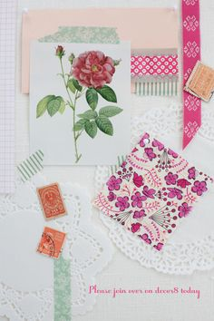 This has a little bit of everything I love...Pink, roses, paper, flowers and doilies.