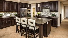 Transitional Kitchen with 25.4 cu. ft. Side by Side Refrigerator in Stainless Steel, MS International Autumn Beige Granite