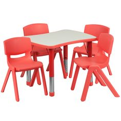 Flash Furniture YU-YCY-098-0034-RECT-TBL-RED-GG 21.875''W x 26.625''L Adjustable Rectangular Red Plastic Activity Table Set with 4 School Stack Chairs