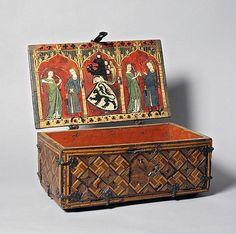 Coffret (Minnekästchen)  Date: ca. 1325–50  Medium: Oak, inlay, and tempera; wrought-iron mounts