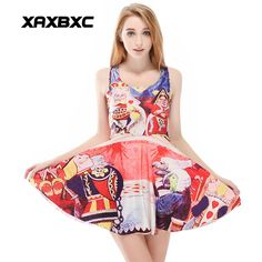 >> Click to Buy << XAXBXC 1187 Summer Sexy Girl Dress Alice in Wonderland Queen Heart Prints Reversible Vest Skater Women Pleated Dress Plus size #Affiliate