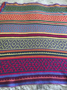 Ravelry: Project Gallery for Nya Mosaic Blanket pattern by Tatsiana Kupryianchyk Scrap Yarn Crochet, Knit Or Crochet, Learn To Crochet, Crochet Motif, Crochet Stitches, Crochet World, Crochet Home, Afghan Crochet Patterns, Crochet Squares