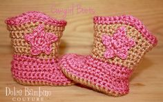 Cowgirl or Cowboy Crochet Baby boots