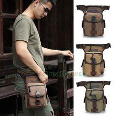 Men's Canvas Military Travel Motorcycle Hip Bum Belt Fanny Pack Waist Leg Thigh Drop Casual Bag