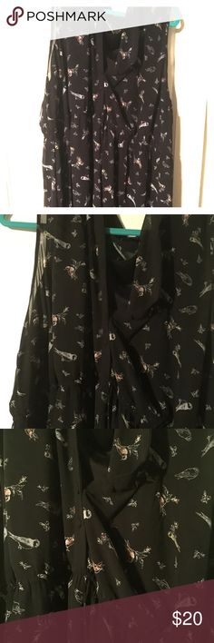 TORRID black bird dress w little pops of color! Plus size dress. Partial Button down. Black with birds. Size 4. Gently used. So cute! Just above the knee. torrid Dresses Midi