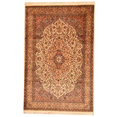 Herat Oriental Pak Persian Hand-knotted Tabriz Beige/ Blue Wool Rug (6' x 9') (Pak Persian Hand-knotted Tabriz Area Rug), Size 6' x 9' (Natural Fiber, Floral)
