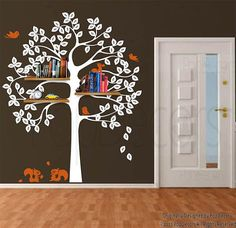 Tree Wall Decal Squirrels Decal Baby Room Decor por PopDecors, $65.00