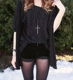Shorts with Tights and Cross Necklace