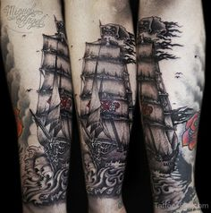 pirate ship and shark tattoos on calves - Google Search