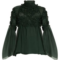 Chloé Floral-smocked silk-crepon blouse (€1.255) ❤ liked on Polyvore featuring tops, blouses, shirts, green, dark green, silk slip, floral blouse, dark green shirt, sheer blouse and bell sleeve shirt