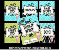 teacher binder organizer... printable & free