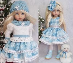 "SWEATER,DRESS&BSSKID BOOTS SET MADE FOR EFFNER LITTLE DARLING 13""&MY MEADOW DOLL #Unbranded"