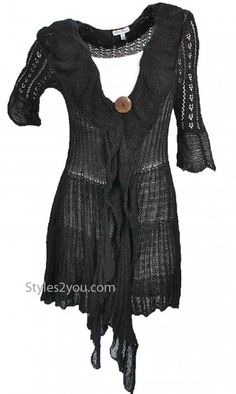 JUST IN.........Martha Vintage Ruffle Sweater In Black at Styles2you.com