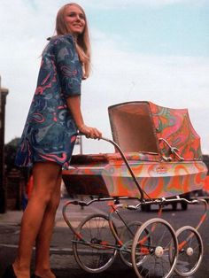 60's Even the baby carriage is psychedelic.