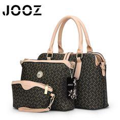 JOOZ brand 3 pcs fashion printed handbag women large tote bag artificial leather shoulder messenger bags female small coin purse