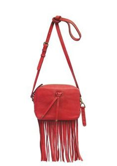 This ruby red leather fringe crossbody is on our must have list.