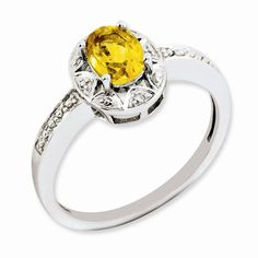 Sterling Silver Diamond & Citrine November Birthstone Ring