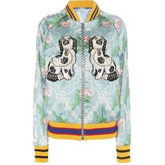 Gucci Embroidered Bomber Jacket (€3.575) ❤ liked on Polyvore featuring outerwear, jackets, green, gucci, embroidered bomber jackets, green jacket, bomber jacket and embroidery jackets