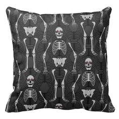 Black & Orange Two Tone Halloween Skeletons Pillow   Side A Black & White Side B: Orange & Black