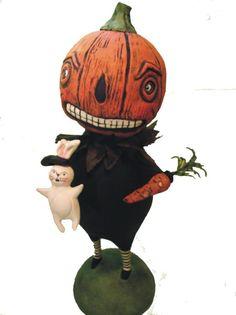 Jack Pumpkin and Bunny FooFoo by Elaine Thomas Whimsical Halloween, Halloween Art, Holidays Halloween, Vintage Halloween, Old And New, Art Images, Happy Holidays, Folk Art, Scary