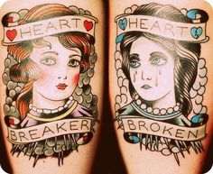 The Good and The Bad  heartbreaker heartbroken traditional oldschool tattoo