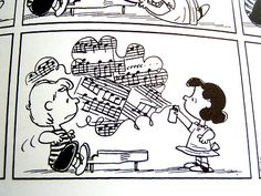 Music now comes in spray cans * Shroeder and Lucy from Peanuts Gang *