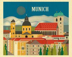 Munich skyline art print, Munich artwork, Loose Petals city art by artist Karen Young, Munich housewarming gift, handmade Munich gift, handmade Munich Baby gift, print on demand