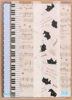 Kutusita Nyanko cat stripe lace A4 plastic file folder