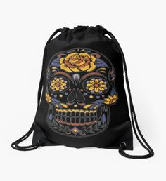 'Skull' Drawstring Bag by Backpack Bags, Drawstring Backpack, Colorful Skulls, Skull Design, Death Metal, Woven Fabric, Rock And Roll, Dead Alive