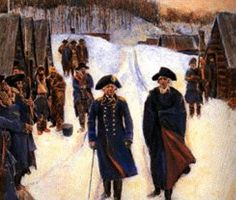 January 1778 - Von Steuben arrives at Valley Forge - Baron Von Steuben and George Washington.