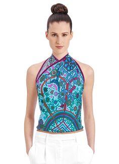 90 x 90 cm scarf Hermès | L'Arbre du Vent . Love the pop of colour under a suit.