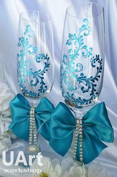 Champagne glasses / Elegant Wedding champagne by UaArtWorkshop
