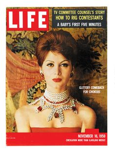 LIFE Magazine November 1959 Cover -Glittery Comeback for Chokers Fashion by SweetbriarTreasures on Etsy Look Magazine, Time Magazine, Magazine Covers, Life Cover, History Magazine, Vintage Love, Vintage Romance, Vintage Photos, Vintage Style