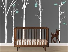Large Birch Tree Decal with Cute baby Deer, Birds and Bird Nest, Nursery Decal