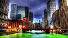 シカゴ川HDRパトリックの日、セント 河川 自然 高解像度で壁紙