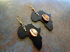 Black Wooden Africa Earrings Egyptian Ankh by Khepera Adornments