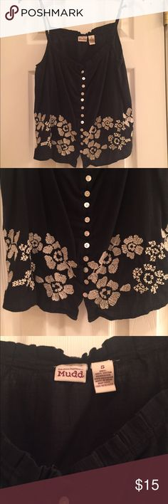 Cute Navy Tank with Flowers at the bottom Still In like new condition Mudd Tops Blouses