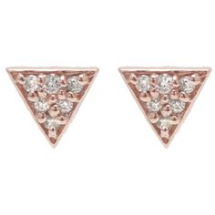 ADORNIA White Diamond and Rose Gold Waverly Stud Earrings ($395) ❤ liked on Polyvore featuring jewelry, earrings, pink, pink jewelry, 14 karat gold stud earrings, triangle earrings, stud earring set and pink gold jewelry