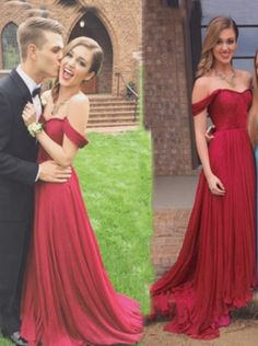 Hot Selling Elegant Off-shoulder Burgundy Long Chiffon Evening/ Prom Dress With Ruched