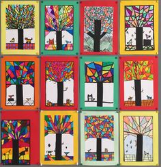 Kubistische herfstbomen – Juffrouw Femke Classroom Art Projects, Cool Art Projects, Art Classroom, Halloween Crafts For Kids To Make, Third Grade Art, Ecole Art, Art Therapy Activities, Virtual Art, Autumn Art