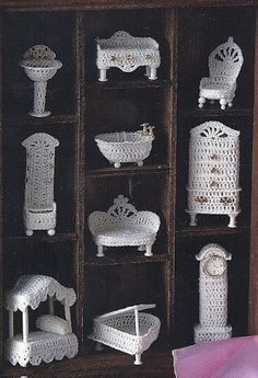 Crochet Miniature Victorian Doll House Furniture by colojd on Etsy